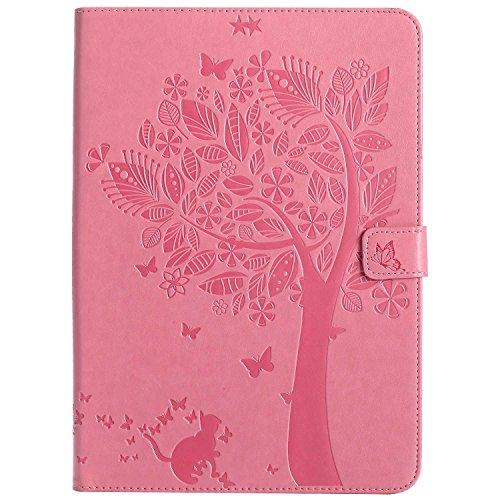 Bear Village® iPad Air 2 (9.7 Zoll) Hülle, Stoßfest Ledertasche Ständer Schutzhülle mit Magnet Verschluss für Apple iPad Air 2 (9.7 Zoll), Rosa