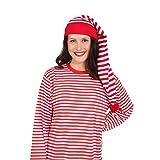 Amakando Geringelte Zipfelmütze für Frauen & Männer / Rot-Weiß / Ringelmütze für Erwachsene Nachtwächter / Ideal zu Fasching & Nachtwäsche-Ball