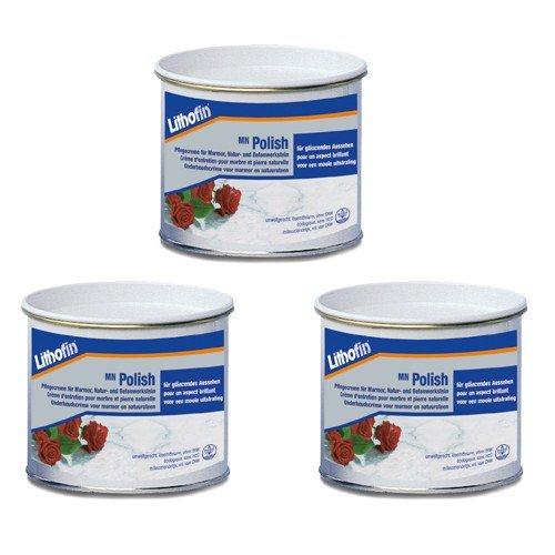 3x Lithofin Polish Pflegecreme - Pflege - Marmor - Glanz - Naturstein - 150 ml