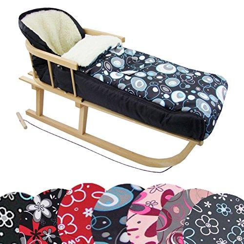 BAMBINIWELT Kombi-Angebot Holz-Schlitten mit Rückenlehne & Zugseil + universaler Winterfußsack (108cm), auch geeignet für Babyschale, Kinderwagen, Buggy, aus Wolle Design (Blaue Blasen) -