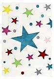 Kinderteppich Happy Rugs STARS creme/multi 80 x 150 cm