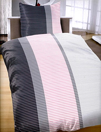 Leonado Vicenti 4 teilige Microfaser Bettwäsche 135×200 cm Streifen Rosa Anthrazit Weiß Reißverschluss Doppelpack