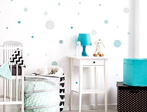 dekodino Wandtattoo Kinderzimmer Wandsticker Set Pastell Kreise in zarten Blau und Grün