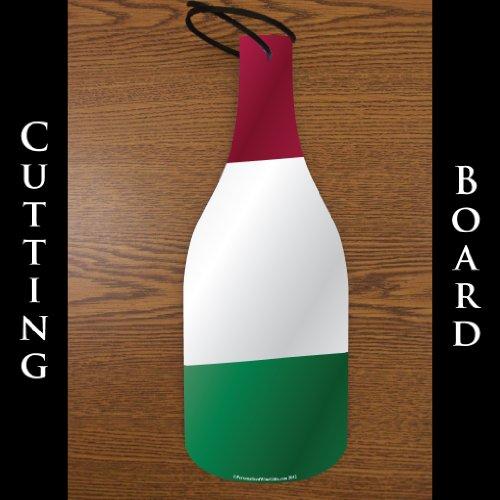 Tagliere in vetro a forma di bottiglia di vino-Bandiera Italiana (11,4x 30,5cm)