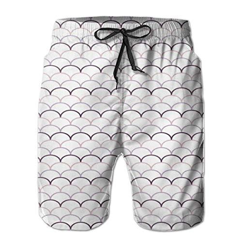 Men Swim Trunks Beach Shorts,Ocean Inspired Fish Flake Like Image with Round Edged Details Art M -