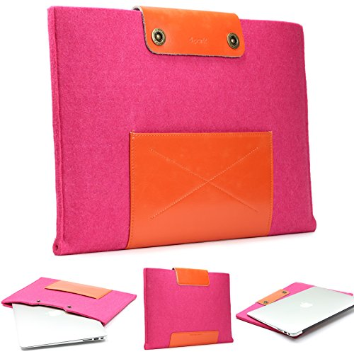 Urcover Handgefertige Designer MacBook Pro 13 Zoll (43,5 cm) Tasche Sleeve Hülle EXTRA Fach für Maus Ladekabel etc. Notebooktasche Ultrabook-Schutzhülle Laptophülle in Rosa Orange -