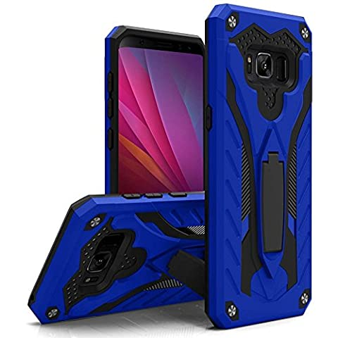 CellularOutfitter Samsung Galaxy S8 Hybrid Armor Case - TPU Construction, Shockproof Phone Case with Kickstand - Blue