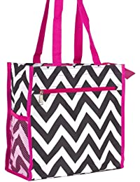 J Garden Black Pink Chevron Canvas Travel Tote Bag With Coin Purse 12-Inch