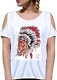 T SHIRT JODE GIRL GGG27 Z3317 NATIVE AMERICAN APACHE TRIBE FEATHERS FASHION COOL BIANCA - WHITE M