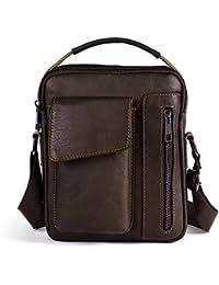 Sac Bandoulière Homme Sac à main en cuir véritable de vachette Sacoche portable Sac porte épaule pour hommes Décontracté en cuir décoratif