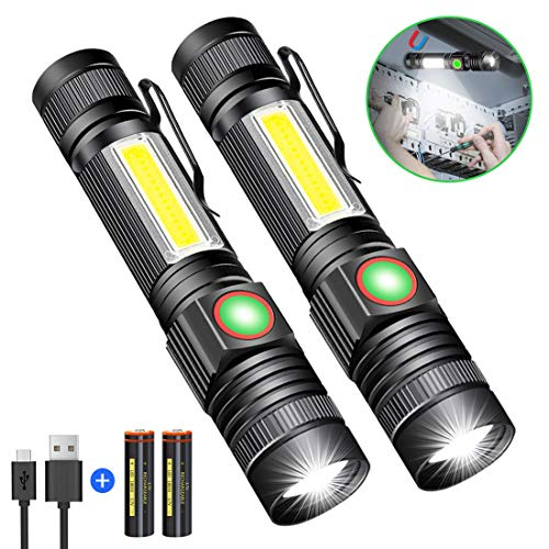 Taschenlampe LED Magnet USB Aufladbar, Karrong Zoom COB Taschenlampen Super hell 4 Modi für Outdoor Camping