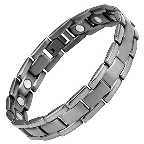 Titanium Magnetic Therapy Bracelet Gunmetal color Size Adjusting Tool and