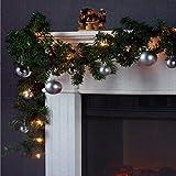 Multistore 2002 Weihnachtsgirlande Tannengirlande Lichterkette 270cm 180 Spitzen + 20 Lampen 16 Kugeln