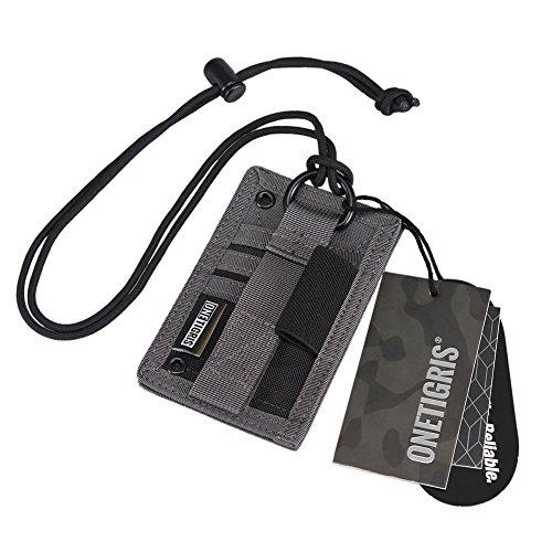 OneTigris Taktische Ausweishalter Abzeichenhalter Identifikation-Kartenhalter mit Umhängeband (Schattengrau-500D Cordura Nylon) - Blk-lampen