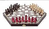 El conjunto del ajedrez jugador 3 - pequeño 28 cm x 14 cm x 4 cm (blanco, negro, rojo) juego de ajedrez madera artesanal