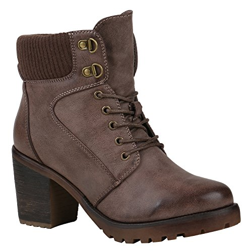 Stiefelparadies Damen Schuhe Stiefeletten Schnürstiefeletten Strick Leicht Gefüttert 150548 Khaki Strick 37 Flandell