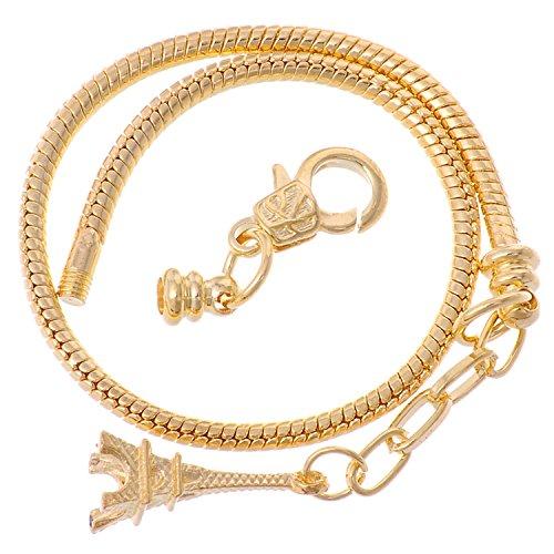 (rubyca Karabinerverschluss im europäischen Stil Schlange Kette Armbänder, metall, Model 111 Gold, 23 cm)