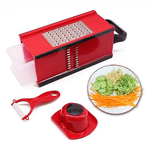 Nardo Visgo® MANDOLINE con 4 lame in acciaio inox - di verdure multifunzionale Peeler & grattugia Julienne affettatrice, risparmiando tempo divertirsi creando gadget da cucina per la casa e Commercial Cooking