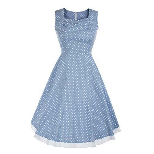 Rétro 1950 de femme Audrey Hepburn robe de soirée cocktail années Rockabilly Swing robe L-bleu