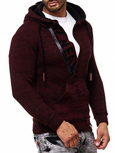 RUSTY NEAL Herren Strick-Pullover Strickjacke mit Kapuze Gr. S bis 4XL RN-13277, Farbe:Bordo/Schwarz;Größe:L