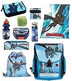 Dragons -Drachenzähmen - Schulranzen Set 10tlg mit Federmappe und Regen/Sicherheitshülle plus Kuschel-Fleecedecke 125x150 cm