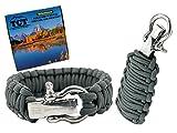 Paracorde Grenade et Bracelet Corde Kit - Inclut plus de 21 pied de Paracord et 17 éléments de survie différents notamment un allume-feu. Equipement de survie et d'extérieur qui en fait des cadeaux géniaux pour hommes et femmes. (Gunmetal Grey)