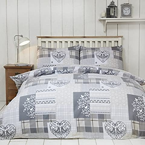 Alpine Patchwork 100% Brushed Cotton Flannelette Heart Quilt Duvet Cover and 2 Pillowcase Bedding Bed Set, Natural/Multi-Colour, Super