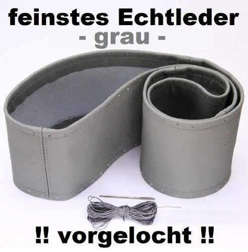 Lenkradbezug grau echt Leder 37-39 cm zum Schnüren Lenkrad Schoner