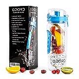 Opard Trinkflasche 1 Liter Fruit Infuser Sports Trinkflasche Water Bottle Tritan BPA-frei mit Kühlung Obst Flasche Kunststoff (Blau)