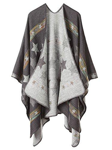 Femme Cape Poncho Extra Large écharpe Châle Blanket Poncho Automne Hiver Étoiles / Gris