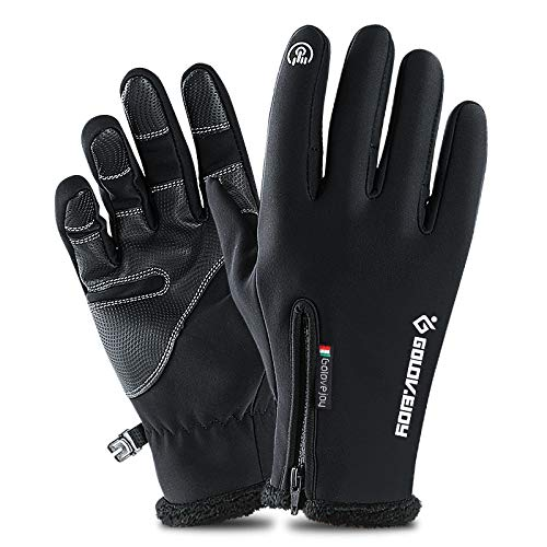 Chongshang Sporthandschuhe wasserdichte Handschuhe Winter Touchscreen Handschuhe windfest warmes Reiten voller Finger Reißverschluss Plus samt Berg Ski Tauchen Tuch Material Palmbreite 8cm-9cm