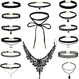 Rovtop 15 Pieces Choker Necklace for Women Girls, Black Classic Velvet Stretch Gothic Tattoo Lace