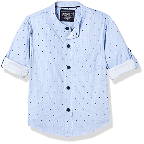 Cherokee by Unlimited Boys' Plain Regular Fit Cotton Shirt (273011637_BLUE_02Y_FS)
