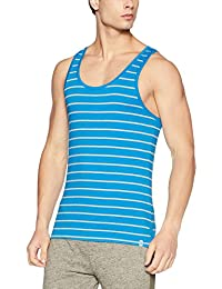 United Colors of Benetton Men's Cotton Vest (LM70I_Small_Sky Blue and Grey)-901