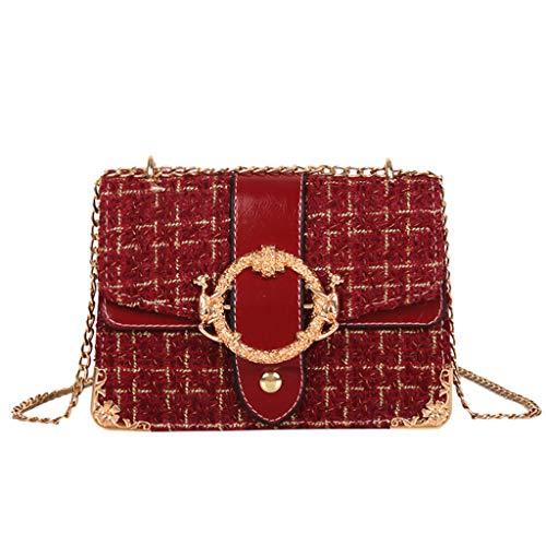 REALIKE Damen Umhängetasche Kuriertasche Vintage Frauen Streifen Reißverschluss Kette Schultertasche Handtasche Einfach klein weiblichen Beutel Henkeltasche Abendhandtasche Handbag -