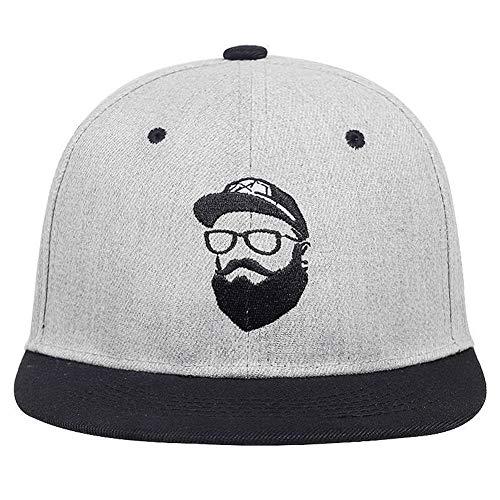 Xingya Neuer ursprünglicher Grauer kühler Hip-Hop-Kappenmannfrauenhutweinlesestickerei-Charakter-Baseballmützenhysterese (Color : Gray) -