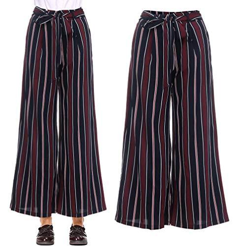 garderobe goa JERFER Mode Frauen Hohe Taille Kordelzug stripy Gerade Knöchellänge Lose Herbsthose Beiläufige Lose Rote Hosen