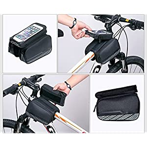 flypro impermeable para bicicleta Ciclismo tubo marco doble bolsa alforja para manillar para iPhone teléfono móvil pantalla táctil (negro)
