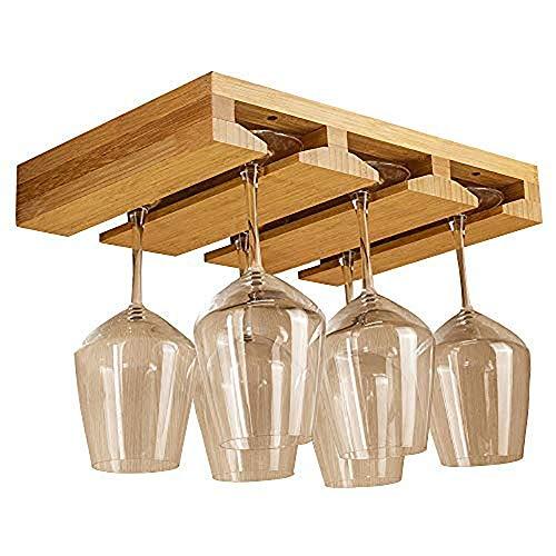 Bamboo Wine Glass Racks Glasses Storage Holders Under Cabinet Hanging Stemwear Racks Glass Drying Rack for Kitchen Bar Fits 6-8 Glasses -