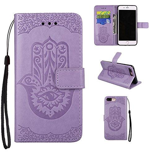Geprägte Floweer Muster Retro Art PU-lederne Fall-Abdeckung mit Mappen-Beutel u. Lanyard u. Kickstand für iPhone 7 Plus ( Color : Rosegold ) Purple