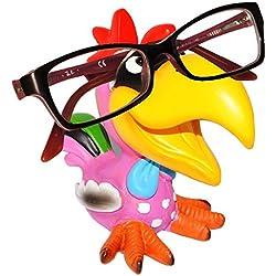 """Brillenhalter - """" lustiger bunter Vogel - Hahn / Tukan / Papagei Ara - Gockel """" - universal Größe - stabil aus Kunstharz - für Kinder & Erwachsene / Brillenhalterung - lustiger Brillenständer - für Sonnenbrille Lesebrille - Vögel exotisch / Karibik - Urlaub - Haustier - Brillenablage - Tier lustig - Deko Figur"""