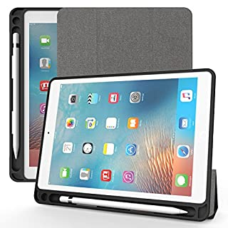 ANG iPad 9.7 Inch 2018/2017 Case with Apple Pencil Holder, Ultra-slim Lightweight Smart Case and Auto Sleep&Wake Function for Apple New iPad 9.7 inch (iPad 6, iPad 5) (Grey)