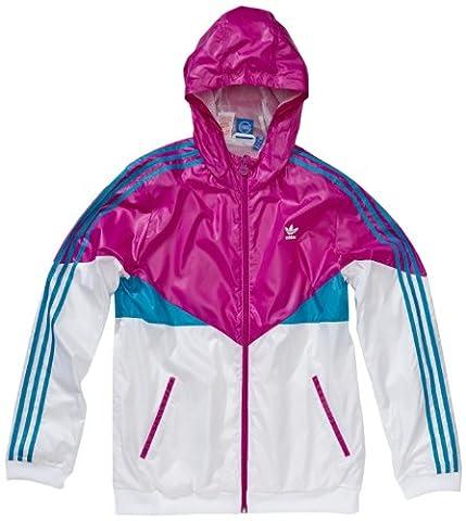 adidas Jungen Kapuzenjacke Colorado Windbreaker, white/turquoise/vivid pink s13, 140,