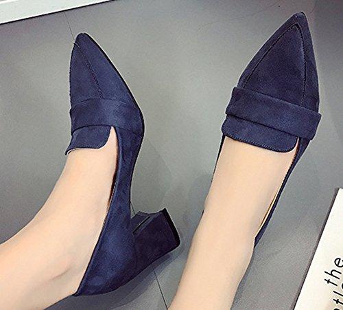 Aisun Femme Classique Bout Pointu Talon Bloc Basse Escarpins Bleu