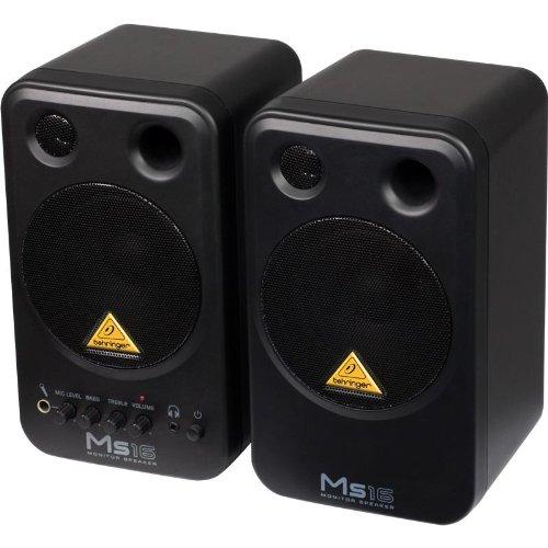 Behringer MS16 Set coppia casse monitor attive da studio (2 x 8 Watt RMS, a 2 vie, schermatura magnetica, RCA)