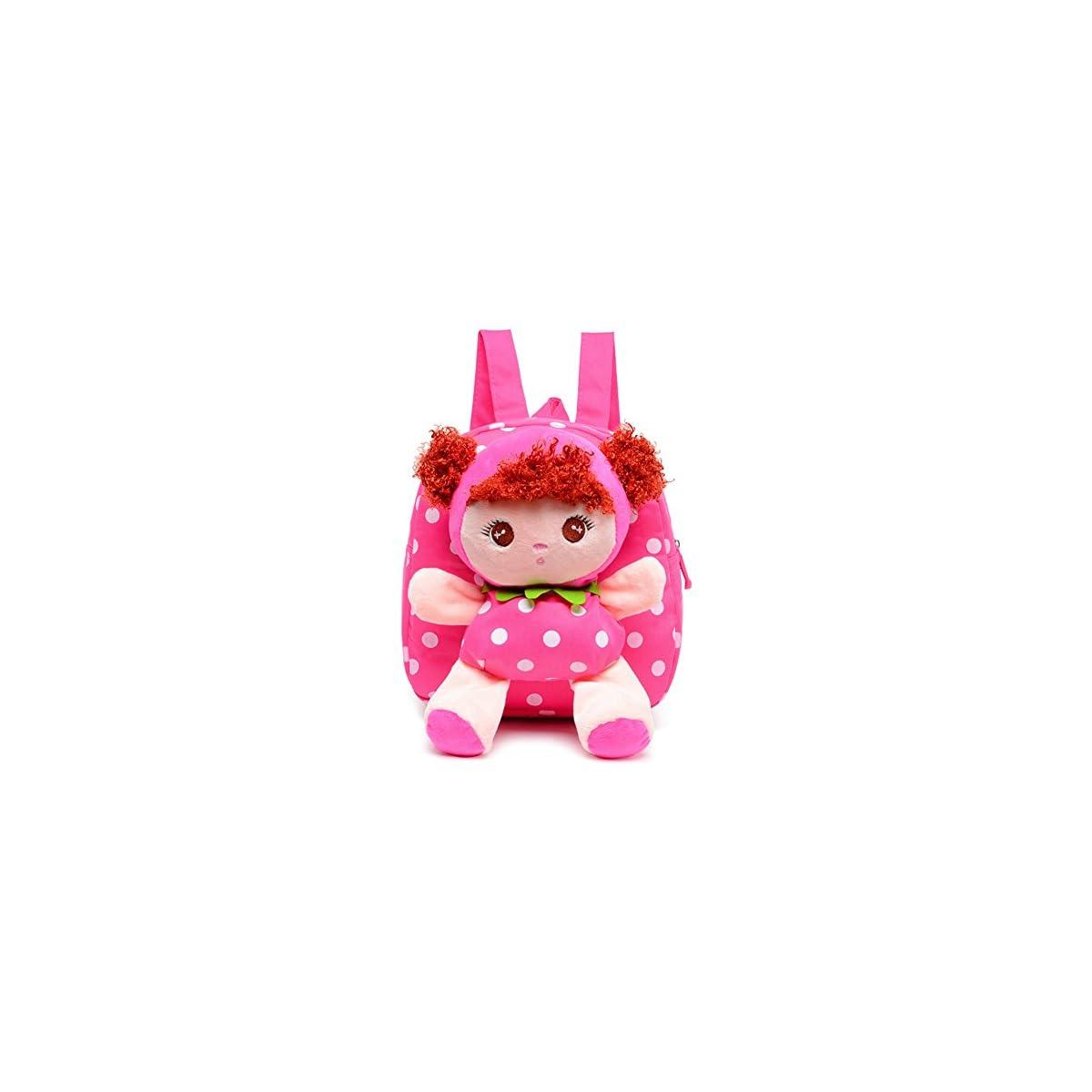 51kIiSjSMmL. SS1200  - Moolecole Cartoon Cute Doll Mochila Toddler Girls Mochila de felpa mochila Sidekick mochila