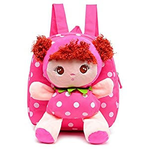 Moolecole Cartoon Cute Doll Mochila Toddler Girls Mochila de felpa mochila Sidekick mochila