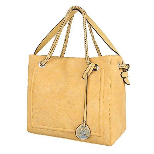 iTal-dEsiGn Damentasche Mittelgroße Schultertasche Used Optik Handtasche Kunstleder TA-1435-2 Gelb
