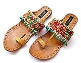 Multi Color Flower Kolhapuri Chappals with Turquoise Pom Pom Balls, Ethnic Indian Designer Womens Sandals or Flip Flops