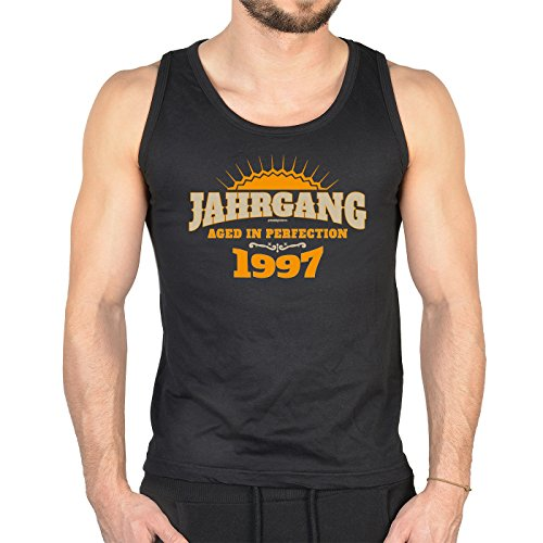 Herren Tank Top zum Geburtstag - Jahrgang 1997 Aged in Perfection - Cooles Trägershirt, Muskelshirt zum 18ten! Schwarz